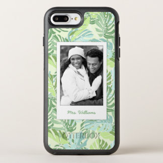 Tropical Palm Leaves | Add Your Photo & Name OtterBox Symmetry iPhone 8 Plus/7 Plus Case