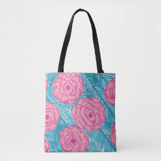 Tropical Palm Leaves and Flowers All over Tote