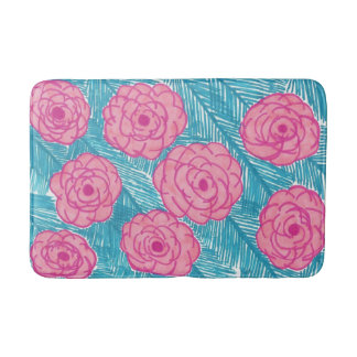 Tropical Palm Leaves and Flowers Bath Mat