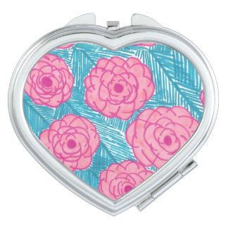 Tropical Palm Leaves and Flowers Compact Vanity Mirrors