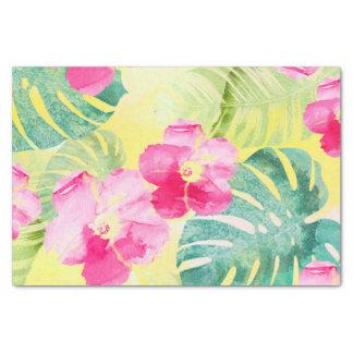 Tropical Palm Leaves and Hibiscus Flowers Tissue Paper