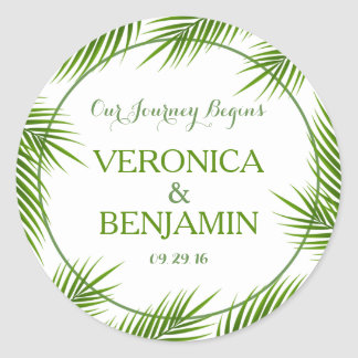 Tropical Palm Leaves Beach Wedding Classic Round Sticker