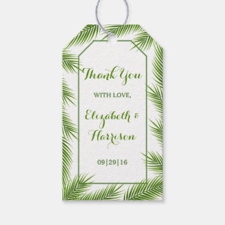 Tropical Palm Leaves Beach Wedding Gift Tags