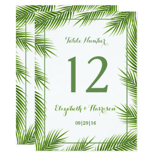 Tropical Palm Leaves Beach Wedding Table Number