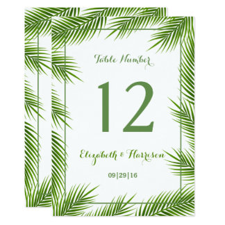 Tropical Palm Leaves Beach Wedding Table Number Card