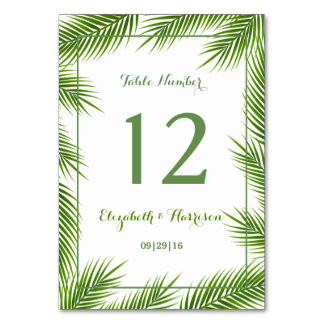 Tropical Palm Leaves Beach Wedding Table Number Table Card