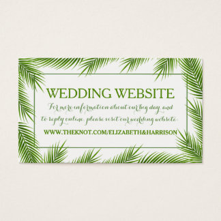 Tropical Palm Leaves Beach Wedding Website Business Card