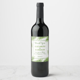 Tropical Palm Leaves Beach Wedding Wine Label