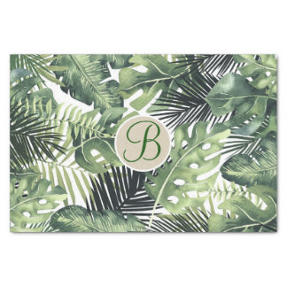 Tropical Palm Leaves Chic Monogram Letter Initial Tissue Paper
