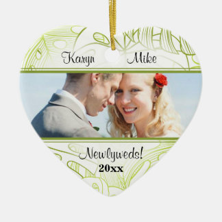 Tropical Palm Leaves Couple Photo Heart Ornament