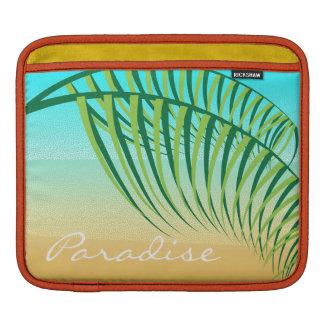 Tropical Palm Leaves Deserted Beach iPad Sleeve