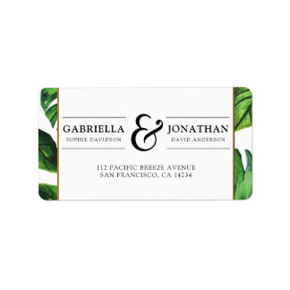 Tropical Palm Leaves & Gold Border Wedding Address Label