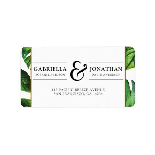 Tropical Palm Leaves & Gold Border Wedding Label