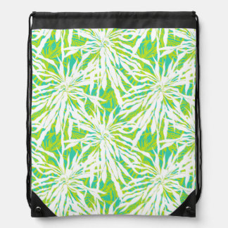 Tropical Palm Leaves Pattern Drawstring Bag