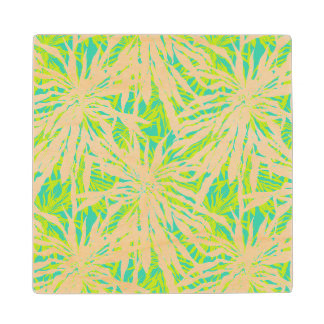 Tropical Palm Leaves Pattern Wood Coaster