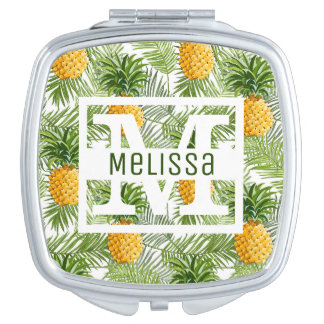 Tropical Palm Leaves & Pineapples | Add Your Name Compact Mirror