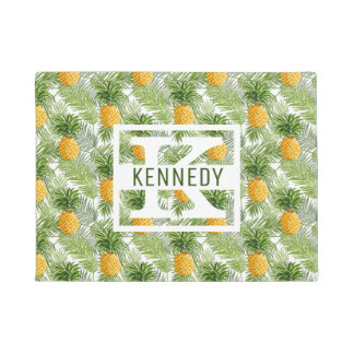 Tropical Palm Leaves & Pineapples | Add Your Name Doormat