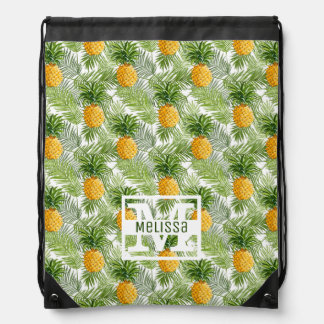 Tropical Palm Leaves & Pineapples | Add Your Name Drawstring Bag