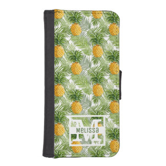 Tropical Palm Leaves & Pineapples | Add Your Name iPhone SE/5/5s Wallet Case