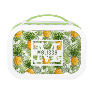 Tropical Palm Leaves & Pineapples | Add Your Name Lunch Box