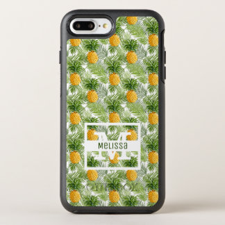 Tropical Palm Leaves & Pineapples | Add Your Name OtterBox Symmetry iPhone 8 Plus/7 Plus Case