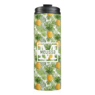 Tropical Palm Leaves & Pineapples | Add Your Name Thermal Tumbler