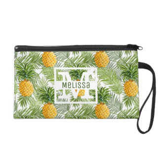 Tropical Palm Leaves & Pineapples | Add Your Name Wristlet