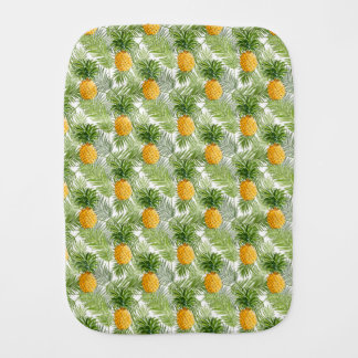 Tropical Palm Leaves & Pineapples Baby Burp Cloths