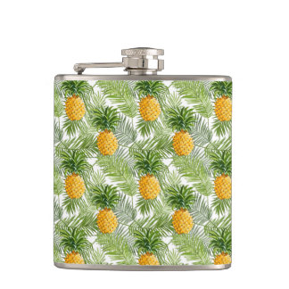 Tropical Palm Leaves & Pineapples Hip Flask