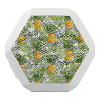 Tropical Palm Leaves & Pineapples White Bluetooth Speaker