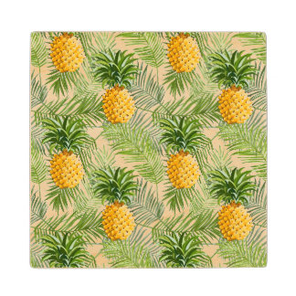 Tropical Palm Leaves & Pineapples Wood Coaster