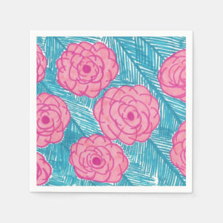 Tropical Palm Leaves & Pink Flowers Paper Napkins Disposable Serviette