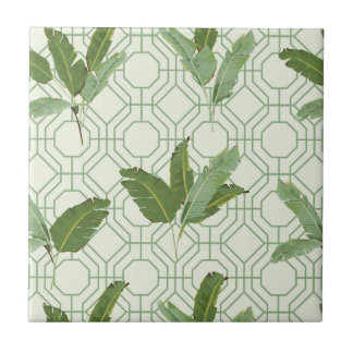 Tropical Palm Leaves Small Square Tile