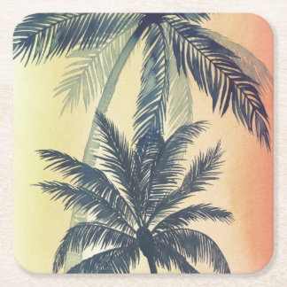 Tropical Palm Leaves Square Paper Coaster