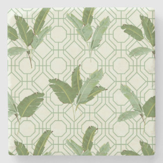 Tropical Palm Leaves Stone Coaster