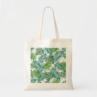 Tropical Palm Leaves Watercolor Tote Bag