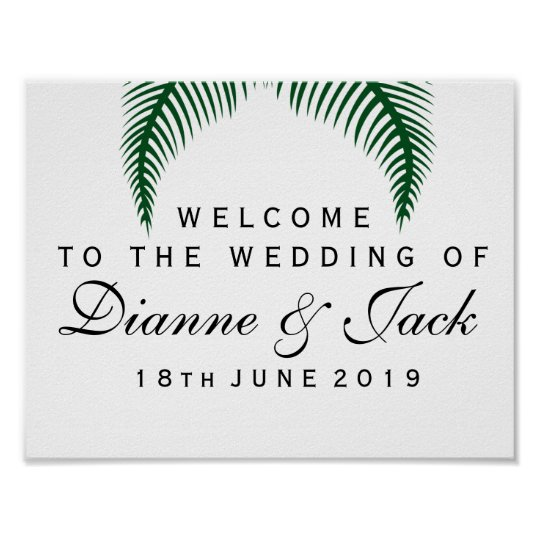 Tropical Palm Leaves Wedding Welcome Sign