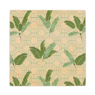 Tropical Palm Leaves Wood Coaster