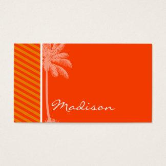 Tropical Palm; Orange Stripes Business Card