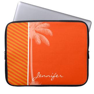 Tropical Palm; Orange Stripes Laptop Sleeve