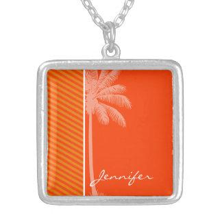 Tropical Palm Orange Stripes Pendant