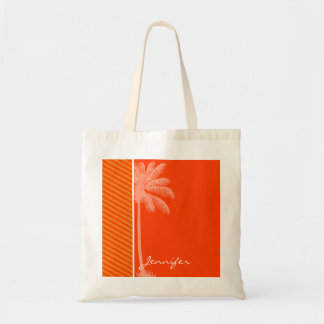 Tropical Palm; Orange Stripes Tote Bag