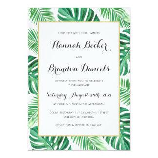 Tropical Palm Philadendron Beach Wedding Invite