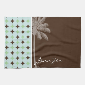 Tropical Palm; Sage Green & Brown Hand Towels