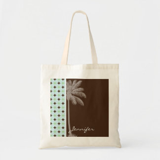 Tropical Palm; Sage Green & Brown Tote Bag