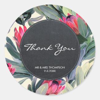 tropical palm thank you favors sticker wedding