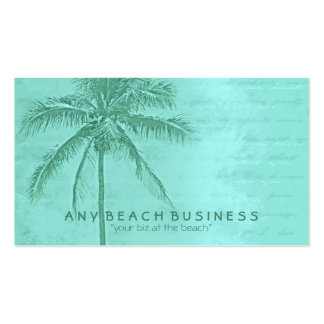 Tropical Palm Tree Aqua Green Business Card Templates