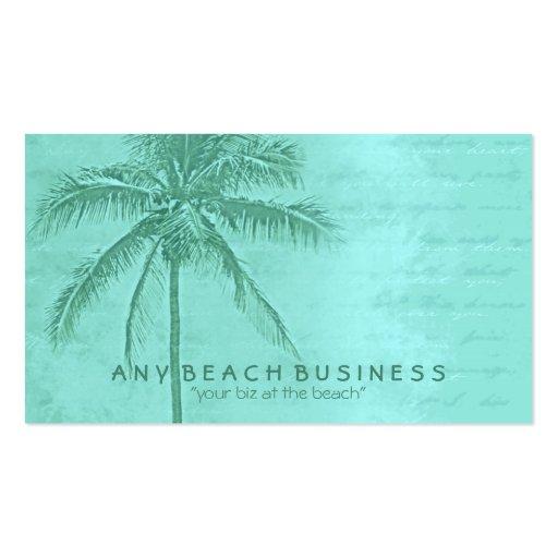 Tropical Palm Tree Aqua Green Business Card Templates