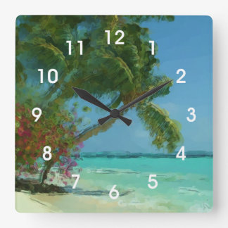Tropical Palm Tree Beach Painting Wall Clock