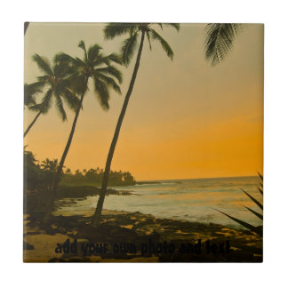 Tropical Palm Tree Beach Small Square Tile